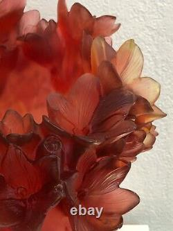 DAUM France Pate De Verre Safran Art Glass Vase Numbered Edition