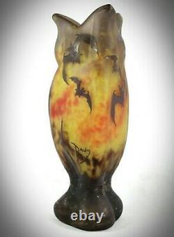 DAUM NANCY Art Nouveau acid etched'BATS''CHAUVES SOURIS' cameo glass / Galle