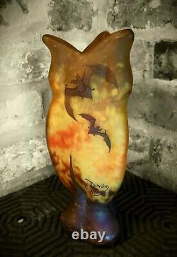 DAUM NANCY Art Nouveau cameo glass vase BATS'/'CHAUVES SOURIS' / HALLOWEEN