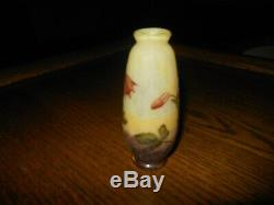 DAUM NANCY FRANCE CROSS OF LORRAINE SMALL VASE with HAND PAINTED BELL FLOWERS