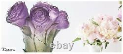 DAUM Peony Vase 05215-2 FRANCE CRYSTAL GLASS New in Box Purple Green Pivoine