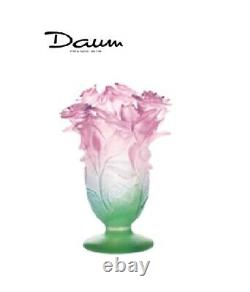DAUM Roses Green and Pink Vase 03507 FRANCE CRYSTAL GLASS Brand New in Box