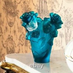 DAUM Small Blue Vase & White Rose Passion 05287-7 FRANCE CRYSTAL New Numbered Ed