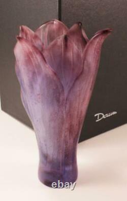 Daum Amaryllis Amethyste Flower Pate De Verre Crystal Petit Modele Vase