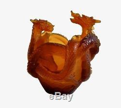 Daum Dragon Vase Pate de Verre Crystal- Amber Mint With Box Ltd. Edition