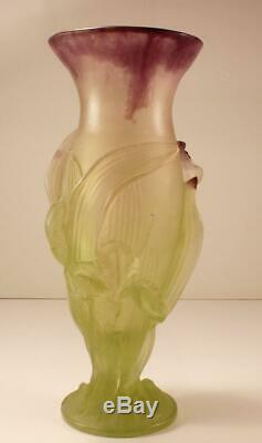 Daum Fleur Iris Flower Pate De Verre Crystal Vase, 11 Inches Tall