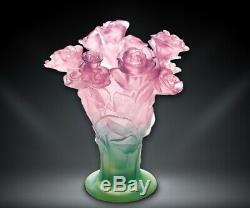 Daum Floral Roses Vase Pink and Green Art Glass Made in France 02570 New