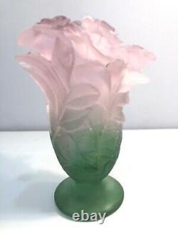 Daum France Crystal Pate De Verre Roses Vase Pink Green Flowers Mint