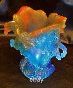 Daum France Pate de Verre Timbale Chevaux de Marly Bleu Horse Vase MIB