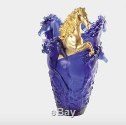 Daum Horse Vase Limited Edition Blue Gold 05381-11