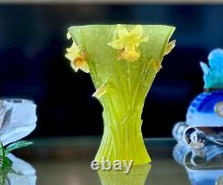 Daum Jonquille Daffodils large vase 9.75 Retail $4000+ Mint with Box & Papers