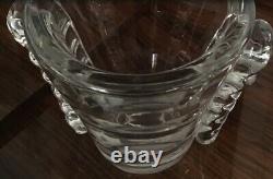 Daum Nancy 1930s Heavy Crystal Vase Signed