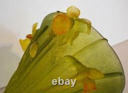 Daum Nancy Art Glass Crystal Jonqiuilles Daffodils Unique 9.5 tall Large Vase