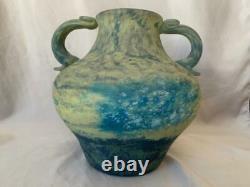 Daum Nancy Bulbous Form Two-Handled Vase Pate de Verre Antique Glass Art Glass