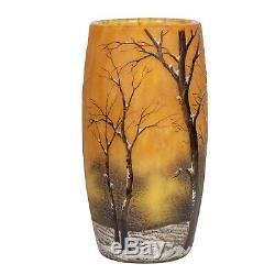 Daum Nancy Cameo and Enamel'Winter Landscape' Glass Vase