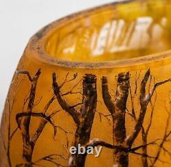 Daum Nancy enamelled and internally decorated Glass Vase, Winter landscape