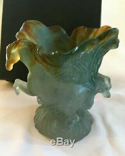 Daum Pate De Verre Horse Vase Sculpture Timbale Chevaux De Marly Box & Foam