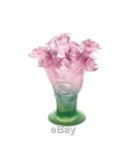 Daum Pink vase Roses 02570 Brand New