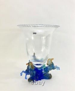 Daum Rare'Marly Bleu' Crystal & Pate de Verre Glass Centerpiece Vase New in Box