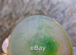 Daum Roses Pâte de Verre Vase Pink Green French Crystal Glass 03507