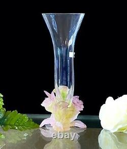 Daum Soliflor Rose Vase Pate de Verre French Crystal Great Condition Signed