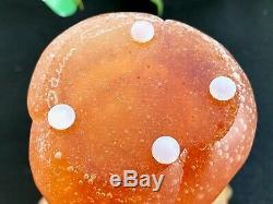 Daum Tulip Vase Pate de Verre Crystal- Amber 9 Mint Signed Authentic