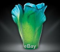 Daum Vase Floral Ginkgo 03410 Green and Blue NEW