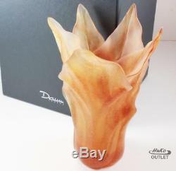 Daum Vase Moyen Modele Tulipe Tulip Flower Amber Tone Pate De Verre Crystal