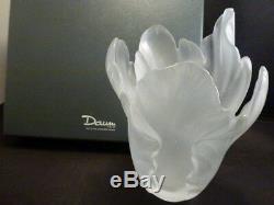 Daum Vase Tulip White Frosted Botanics 6 1/2 5213-3 Signed Nib