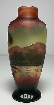 DeVez FRENCH CAMEO Art Glass Vase SIGNED Mountains Trees Lake Scenic