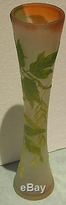 Emile Galle C 1910 Original Cameo Glass Grand Vase Design Heigth22.5