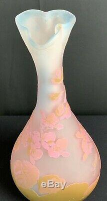 Emile Galle' French Art Glass Cameo Vase 1890 to 1920