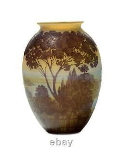 Emile Galle vase. Decorated with landscape. Authentic end 1800