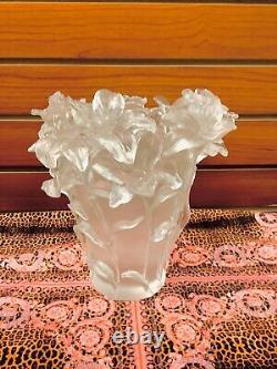 Estate Find Large Pate De Verre Nancy Daum Style Flower Heavy Vase 19/19/21cm
