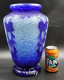 FRENCH ART DECO Le Verre Francais Myrtilles Vase Blue Glass Cameo Signed Charder