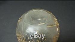 FRENCH ART GLASS LEGRAS, ST. DENIS, MONT JOYE CAMEO GLASS ROSE BOWL, c. 1900