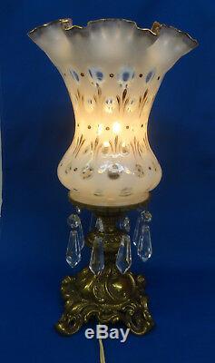 Fenton GLASS French Opalescent COIN DOT BRASS vase lamp Charleton Decoration