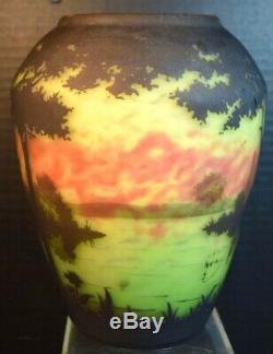 Four Color Nancy Daum Cameo Glass Landscape Vase
