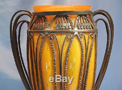 French Art Deco Dubois Orange Glass & Wrought Iron Vase Circa 1925