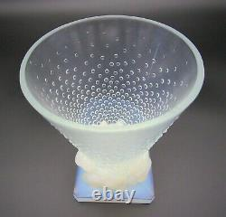 French Art Deco SABINO Opalescent Conical & Bird Art Glass Vase Signed & Labeled