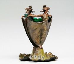 French Elegant Art Nouveau Bronze Two Nymphs With Original Green Glass Insert