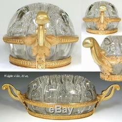 French Empire Style 12.5 Flower Frog, Centerpiece Blown Glass & Gilt Bronze