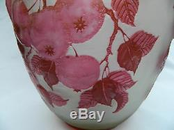 French Style Cameo Glass Vase signed Stefan apples branches leaves deep red