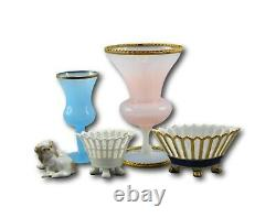 French White and Pink Opaline Glass Medicis Vase with Ormolu Bronze Mount