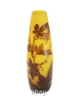 Galle Art Glass Brown over Yellow Cameo Vase, circa 1890