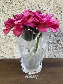 Genuine Lalique France Crystal Rose Ispahan Floral Vase Signed Heavy Pls Read