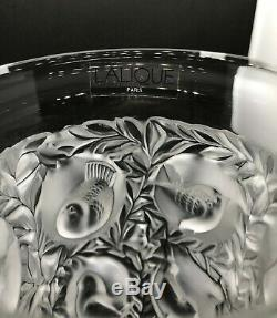 Gorgeous Lalique French Frosted Heavy Crystal Bird Vase Bagatelle Signed Mint