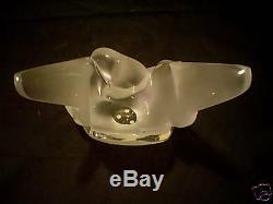 Gorgeous Lalique Frosted Crystal Sylvie Vase & Flower Frog
