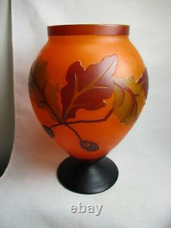 Gorgeous Vintage Hand-Etched CAMEO GLASS VASE with Leaves Unsigned EXCELLENT