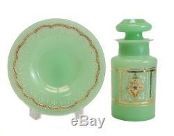 Jeweled Green Opaline Art Glass Jar Underplate c1920 hand painted raised enamel